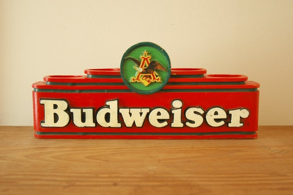 Vintage Budweiser Beer Display Sign Faux Wood, Bud Bar Decor