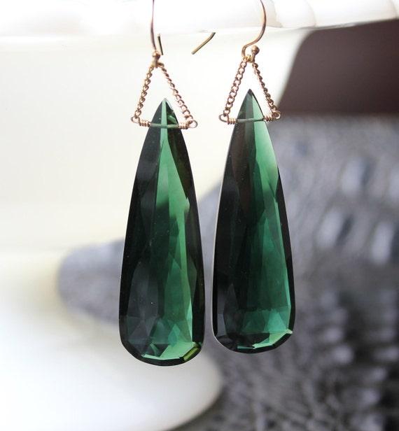 Emerald Green Quartz Tear Drop Earrings Simple Modern Statement Jewelry 14K