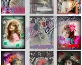 Original ATC ACEO Children, Butterflies, Flowers,  Altered Art , Digital Collage Print Sheet, OOAK