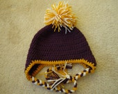 LSU Tigers Purple and Gold Crocheted Hat, Size 6-12 months