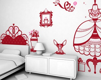 Kids Wall Decals Set - Princess (free shipping)