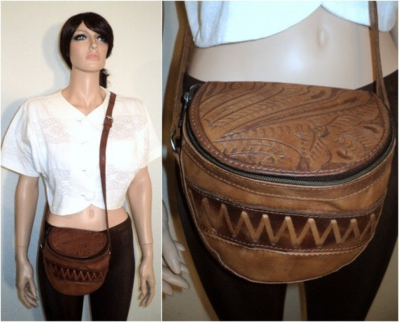 vtg Brown TOOLED Leather CROSSBODY Ethnic Purse