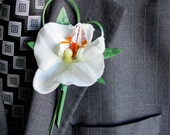 Faux Boutonniere - Real Touch Boutonniere - Wedding Boutonniere - Anniversary Boutonniere - Prom Boutonniere - Orchid Boutonniere