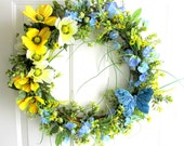 Spring Wreath - Summer Wreath - Butterfly Wreath - Yellow, Blue &  Lime Green Wreath - Willow Wreath - Outdoor Wreath - FREE SHIPPING