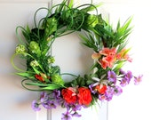 RESERVED Spring Wreath -  Summer Wreath - Mini Wreath - Lime Green Hops,  Orange Roses, Purple Larkspur Wreath - Willow Wreath