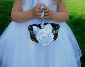 Flower Girl Basket - Oval Wedding Flower Girl Basket - Rustic Flower Girl Basket - Choose Your Flower, Choose Your Ribbon