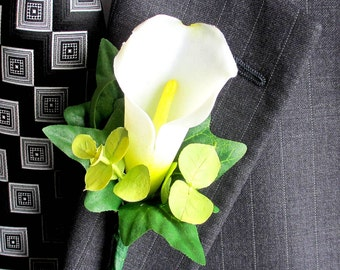 Faux Boutonniere - Real Touch Boutonniere - Wedding Boutonniere - Anniversary Boutonniere - Prom Boutonniere - Calla Lily Boutonniere