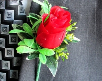 Faux Boutonniere - Silk Boutonniere - Wedding Boutonniere - Anniversary Boutonniere - Prom Boutonniere - Red Rose Boutonniere