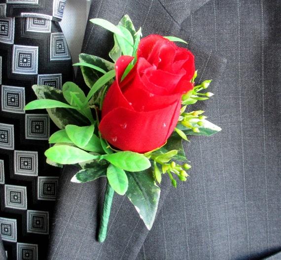 Faux Boutonniere - Silk Boutonniere - Wedding Boutonniere - Anniversary Boutonniere - Prom Boutonniere - Red Rose Boutonniere