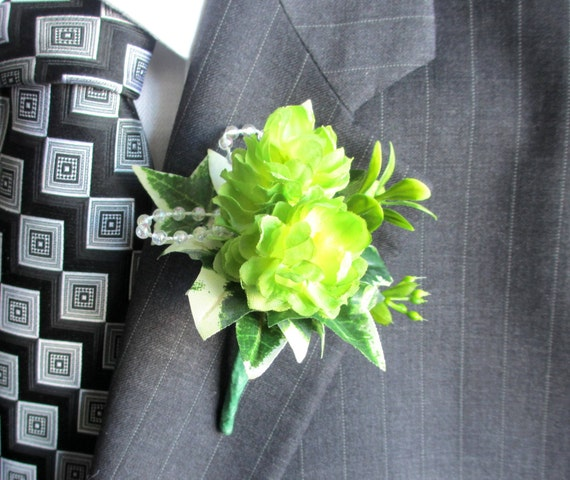 RESERVED for Angela - Faux Boutonniere - Wedding Boutonniere - Anniversary Boutonniere - Lime Green Boutonniere - Hops Boutonniere