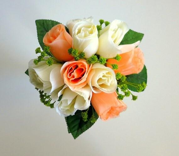 Toss Bouquet - Mini Bouquet - Silk Bouquet - Artificial Bouquet - Faux Bouquet - Rose Bouquet - Peach and Ivory Bouquet