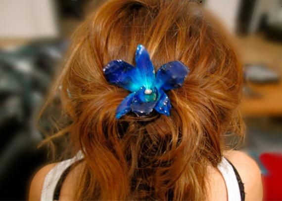 Sapphire Blue Orchid Flower Hair Clip