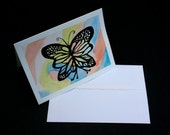 Rainbow Butterfly- Original Greeting Card- Watercolor