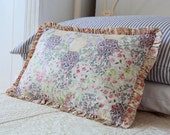 PRETTY VINTAGE PATCHWORK - floral honeycomb fabric cushion - feather filled