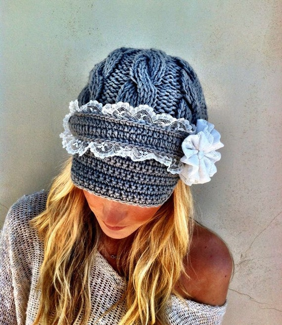 Grey Cable Knitted Hat Lacy Brimmed Chunky Cap with Lace Flower