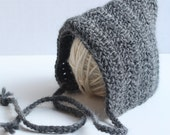 Charcoal Gray Newborn Pixie Style Hat- MADE TO ORDER