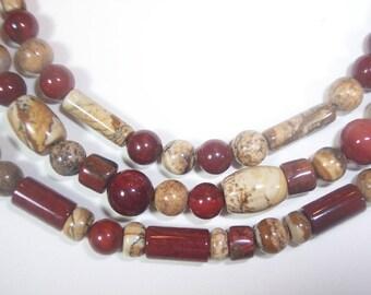Earth Tone Jasper Mix Multi Strand Necklace