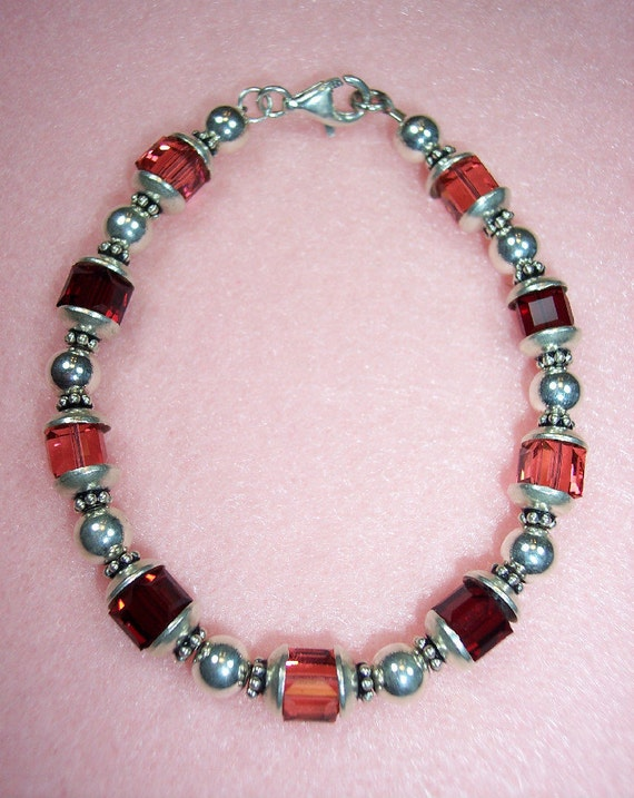 Sterling Silver and Genuine Austrian Swarovski Crystal Bracelet