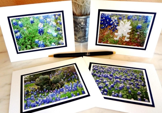 """Texas Hill Country Bluebonnets Note Cards - Set of 4 - 4"""" x 5"""" - Original Photography - handmade"""