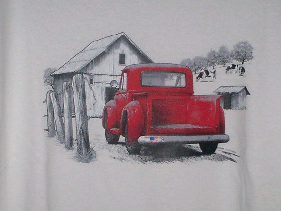 Classic Red Pick Up White T-Shirt (last one, size large)
