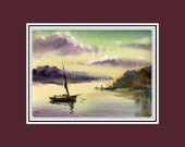 50% OFF SeaSCaPe ORIGINAL WATERCOLOR painting   9x11.5 inch