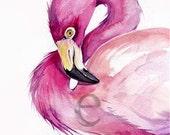 8x10 inch FLAMINGO  ORiGINAL watercolor painting