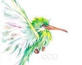 5x7 inch   Two Fisted Hummingbird ORIGINAL watercolor  painting
