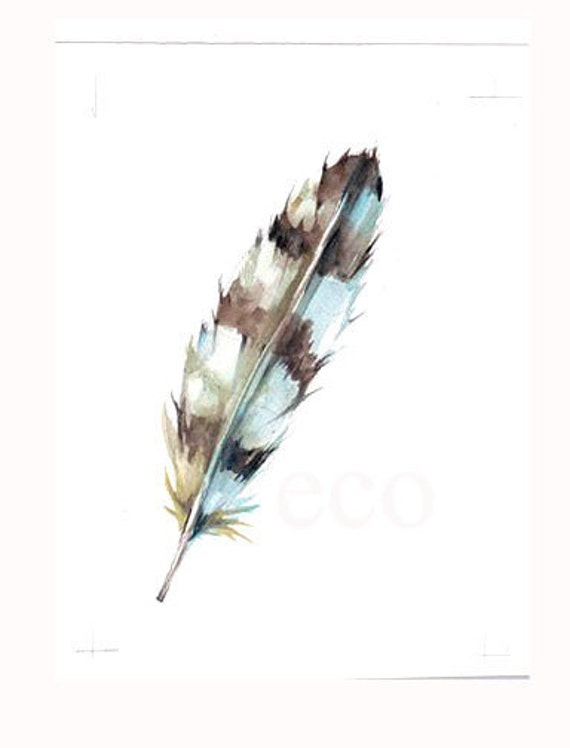 5x7 inch Garden FEATHER ORIGINAL WATERCOLoR painting