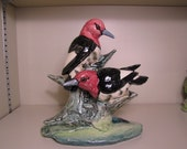 Stangl Pottery 3752D Double Red Headed Woodpeckers.