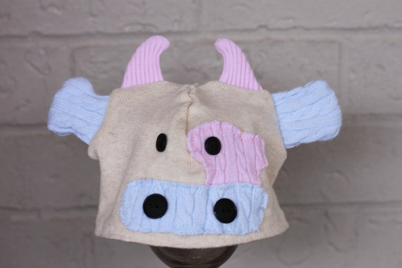 Upcycle Sweater Hat Pattern includes 5 sizes and 3 options cow, owl, bear PDF 10
