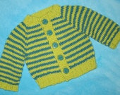 RESERVED - Hand Knit Striped Baby Girl Cardigan Sweater in Lime and Aqua size 3-6 months