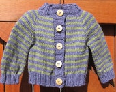 RESERVED - Hand Knit Baby Boy Cardigan Sweater in Purple and Green Stripes size 3-6 months