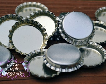 5 Silver / Chrome Color Linerless Bottle Caps - Perfect for Crafts (Ships Fast)