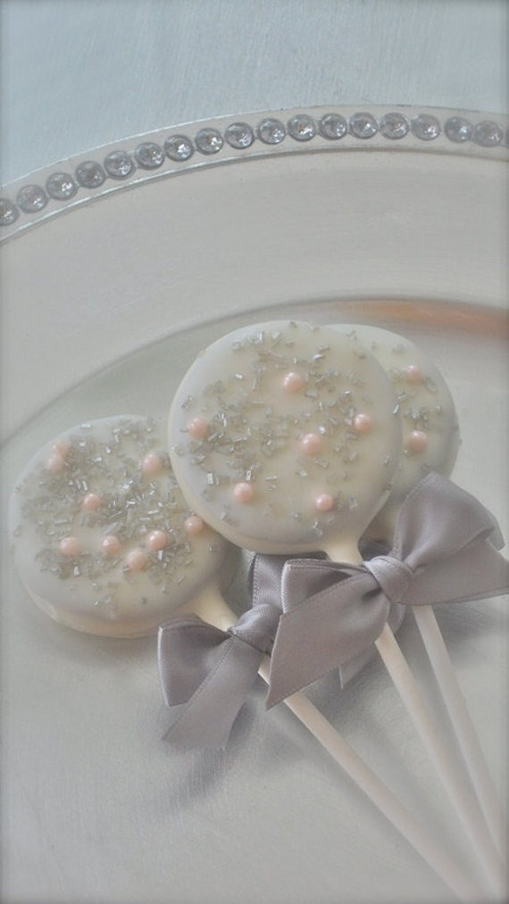 Edible Wedding Favors Silver And Pink Chocolate Dipped Oreos