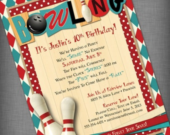 Bowling Party Customized Printable Invitation