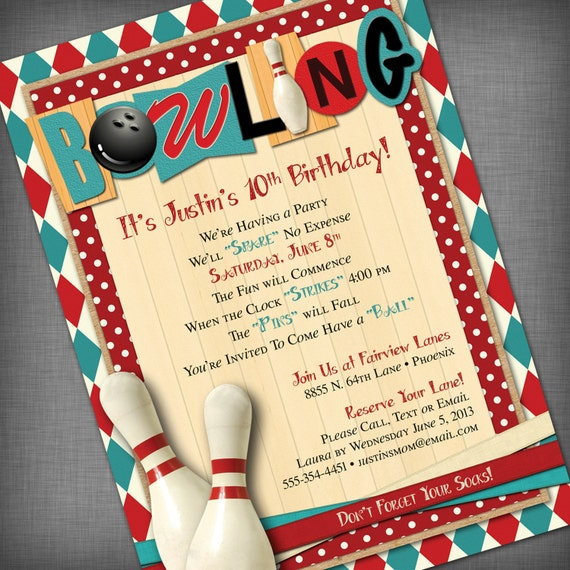 Epic image within printable bowling party invitations