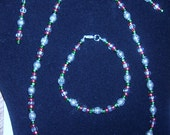 Festive 4 piece Jewelry Set Red, Green, and Silver Metal Beads - Necklace, Bracelet, Earrings