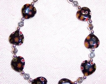 Black Millefiori Glass Hearts and Czech Crystal Bracelet - 7 inches