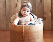Baby Pilot Aviator Hat - Knit Baby Hat- Baby Photo Prop