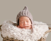 Spring Baby Hat - Ribbed Baby Pixie Hat - Knit Baby Hat - Baby Bonnet- Vintage Inspired