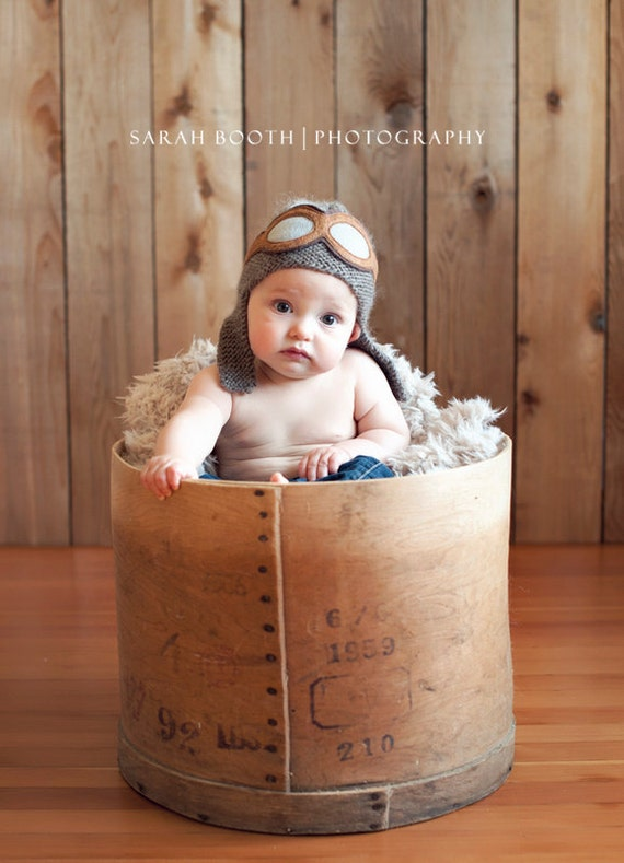 Baby Pilot Aviator Hat - Knit Baby Hat- Baby Photo Prop