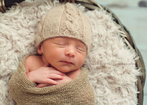Knit Newborn Baby Hat - Cable Knit Baby Hat - Baby Photography Prop