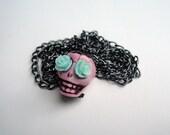 Pink & Mint - Sugar skull pendant