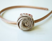 Elegant golden silk HEADBAND for girl with rose and shell application