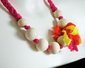 NEON Necklace 20% OFF pink yellow orange  of braided viscosa yarn and wood beads