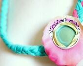 NECKLACE pink aqua gree of braided viscosa yarn fabric petal and metal plug