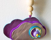 Wall or Tent Decor CLOUD made in leather felt and wood pearls, hand painted, unique