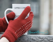 Warm decorated red three finger gloves wool knitted warm for winter women accessories