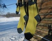 Warm knitted Wool socks - Green blue love family gift sock set for mother, father and a child