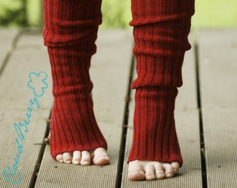 Yoga socks spats / dance socks / leg warmers / boot socks  - Red, very long, knitted comfortable warm Accessories Women gift for her legwear